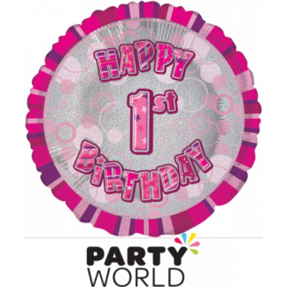 1st Birthday Prismatic Foil Balloon - Glitz Pink