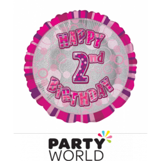 2nd Birthday Prismatic Foil Balloon - Glitz Pink