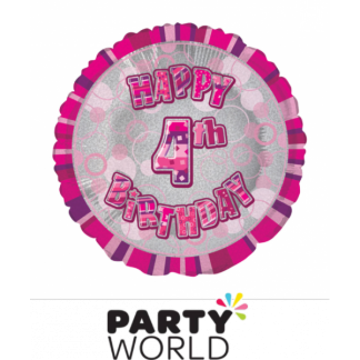 4th Birthday Prismatic Foil Balloon - Glitz Pink