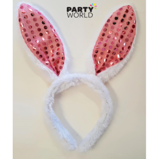 White & Pink Bunny Ears Headband