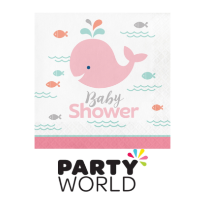 Lil Spout Whale Baby Shower Luncheon Napkin - Pink (16)