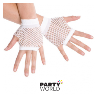 Fingerless Net Gloves White