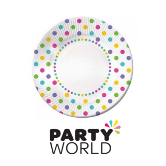Rainbow Dots Paper Plates - 7in (6)
