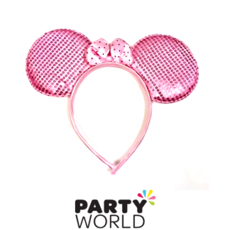 Minnie Mouse Headband Pale Pink Sequin