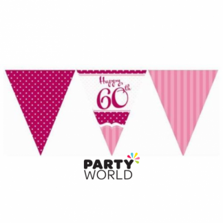 Perfectly Pink 60th Birthday Paper Bunting (3.7m)