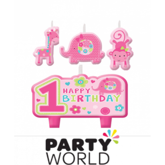 One Wild Girl Birthday Candle Set (4)