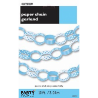 Baby Blue Paper Chain Polka Dot Garland (3m)