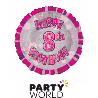 8th Birthday Prismatic Foil Balloon - Glitz Pink
