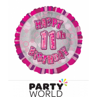 11th Birthday Prismatic Foil Balloon - Glitz Pink