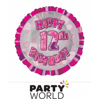 12th Birthday Prismatic Foil Balloon - Glitz Pink