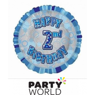 2nd Birthday Prismatic Foil Balloon - Glitz Blue