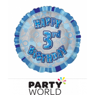 3rd Birthday Prismatic Foil Balloon - Glitz Blue