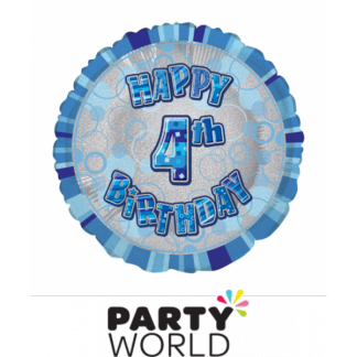 4th Birthday Prismatic Foil Balloon - Glitz Blue