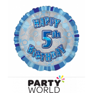 5th Birthday Prismatic Foil Balloon - Glitz Blue