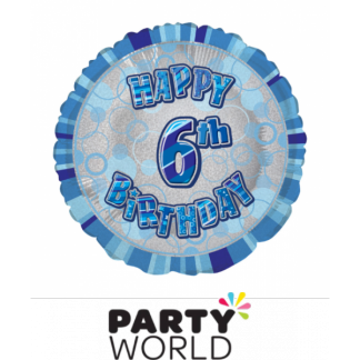 6th Birthday Prismatic Foil Balloon - Glitz Blue