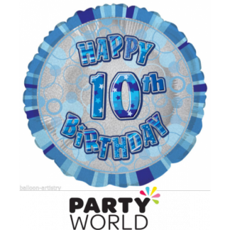 10th Birthday Prismatic Foil Balloon - Glitz Blue
