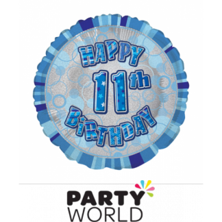 11th Birthday Prismatic Foil Balloon - Glitz Blue