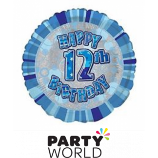 12th Birthday Prismatic Foil Balloon - Glitz Blue