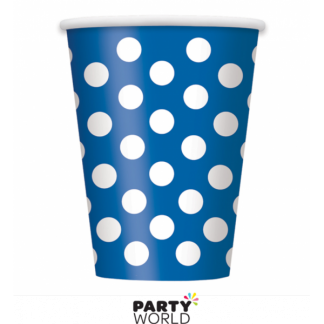 Royal Blue Polka Dot Paper Cups (6)