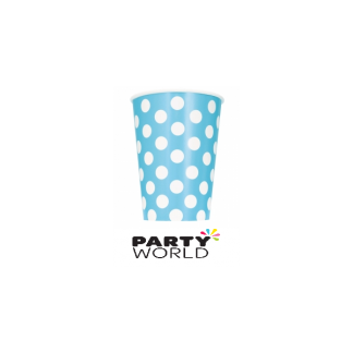 Powder Blue Polka Dot Paper Cups (6)