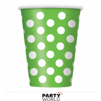 Lime Green Polka Dot Paper Cups (6)