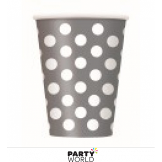 Silver Polka Dot Paper Cups (6)