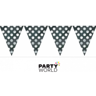 Black Polka Dot Bunting Flag Banner 12ft