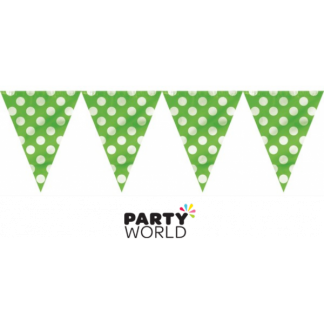 Lime Green Polka Dot Bunting Flag Banner 12ft