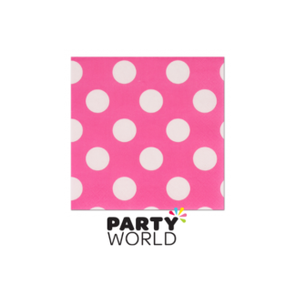 Polka Dot Beverage Napkins Hot Pink (16)