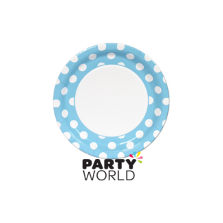 "Polka Dot Paper Plates 9"" Powder Blue (8)"