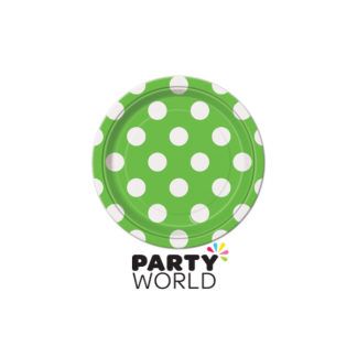 "Polka Dot Paper Plates 7"" Lime Green (8)"