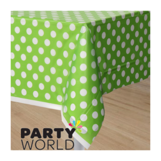 Polka Dot Plastic Tablecover - Lime Green