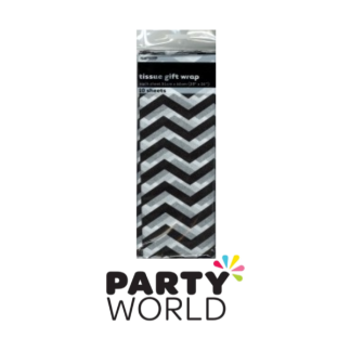Tissue Gift Wrap Chevron Black (10)