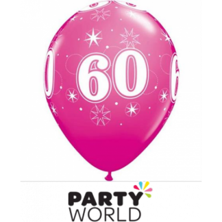 "60th Sparkle Wild Berry Qualatex Balloon 11"" (5)"