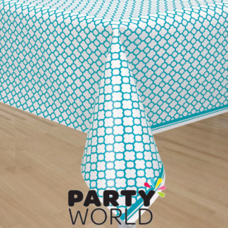 Caribbean Teal Quartrefoil Table Cover