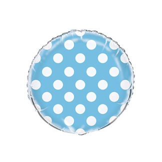 18 inch Dot/Spot Foil Balloon Baby Blue