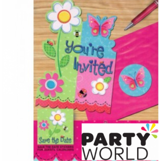 Butterfly Garden Girl Invitation Pack (8)