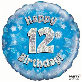 12th Birthday Holographic Foil Balloon - Blue
