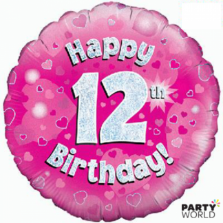 12th Birthday Holographic Foil Balloon - Pink