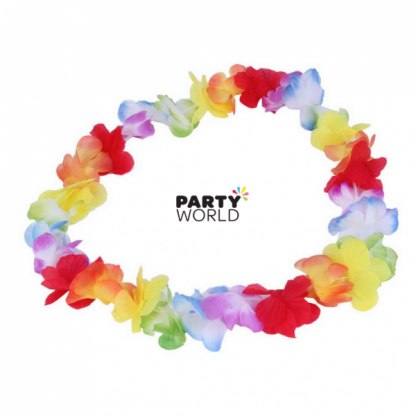 Rainbow Flower Lei Necklace 90cm (pack of 10)