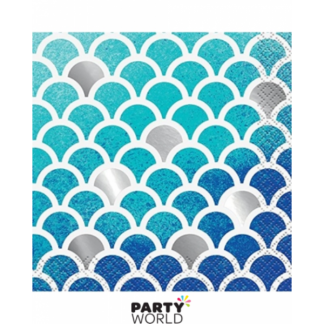Ocean Blue Scallop Beverage Napkins (16)