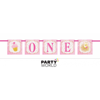 Pink & Gold 1st Birthday Banner