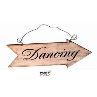 Wooden Dancing Hanging Arrow Sign