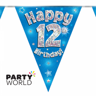 12th Birthday Holographic Bunting - Blue 3.9m