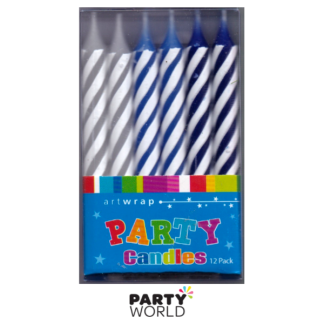 Blue Striped Twisted Candles (12)