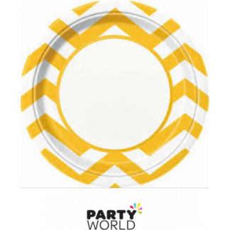 Chevron Paper Plates 9in - Yellow (8)