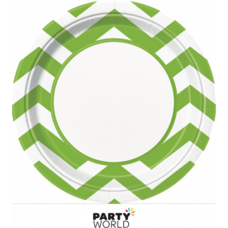 Chevron Paper Plates 9in - Lime Green (8)