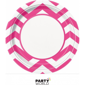 Chevron Paper Plates 9in - Hot Pink (8)