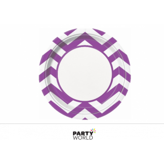 Chevron Paper Plates 9in - Pretty Purple (8)