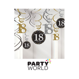 18th Birthday Silver & Gold Swirl Decorations (12)